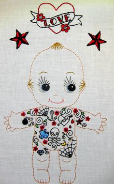 Tattoo Kewpie Doll Cutesie Digital Embroidery by greenbeanbaby, $1.99