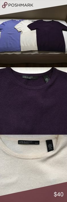 Spring Cashmere Short Sleeved Bundle Two Lord & Taylor short sleeved sweater tops. Violet XS, and Blue Violet, S. These are in good used condition. If interested in one, message me and I'll create a separate listing. Lord & Taylor Sweaters Crew & Scoop Necks