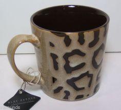 new huge 18 oz animal print decorative pottery coffee mug leopard cheetah brown