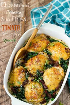 "Chicken with Creamy Sun Dried Tomato Sauce + Spinach- Super Easy! Chicken thighs are smothered in a ""to die for""creamy Sun Dried Tomato and Parmesan sauce and baked to golden brown perfection. It's easy, it's comforting, and it's only about 330 calories per serving"