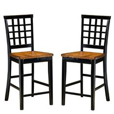 """24"""" Lattice Back Barstool - Black by Intercon - Black & Java (AR-BS-185-BLJ-K24) (Set of 2) by Intercon. $210.00. Lattice back styles. Ergonomically designed barstool backs and seats for comfort and support. Stretchers on chairs and barstools are added for superior quality and durability. The Arlington collection offers functional sets in unique, two-toned black and java or white and java finishes. Versatile dining and gathering sets are available for dining roo..."""