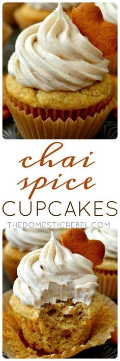 These Chai Spice Cupcakes are INCREDIBLE! Moist, tender, fluffy vanilla cupcakes packed with authentic chai flavor and topped with a chai buttercream. Easy, quick and utterly delicious! Cupcake Flavors, Cupcake Recipes, Cupcake Cakes, Dessert Recipes, Cupcake Emoji, Cupcake Wrappers, Spice Cupcakes, Vanilla Cupcakes, Mocha Cupcakes