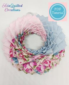 Fabric Wreath Tutorial, Ornament Tutorial, Coffee Filter Wreath, Art And Craft, Quilted Ornaments, Heart Ornament, Summer Wreath, Diy Wreath, How To Make Wreaths