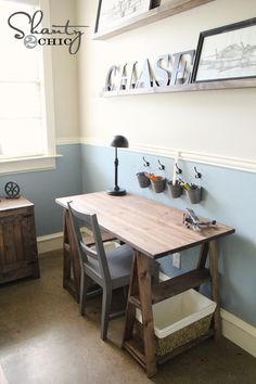 I want to make this! DIY Furniture Plan from Ana-White.com Inspired by Restoration Hardware's Sawhorse Trestle Desk, this easy to build version is doable by most any DIYer! Using standard off the shelf lumber, a premade project panel for the tabletop, you can build yourself a solid wood sawhorse desk for a fraction of retail costs! Full plans include everything you need to build for yourself. | For more cute room decor ideas, visit our Pinterest Board: https://www.pinterest.com/makerskit/diy-tum