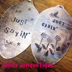 Custom order stamped silver spoon pendant(s)- made for Julie's Junquetique on etsy.com