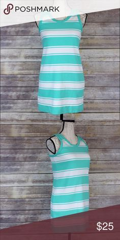 J.Crew Beautiful cotton blue/white mini dress Stripe aqua/white short dress super comfy and beautiful. J. Crew Dresses Mini