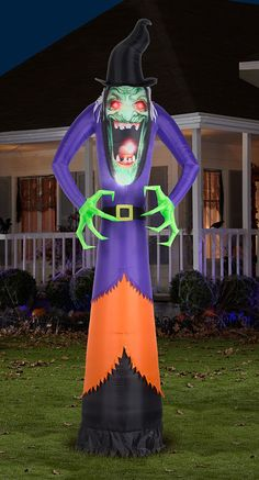 The 12' Inflatable Haunting Hag-This is the 12'-tall inflatable hag that haunts a Halloween display with a wickedly gruesome grimace. With green clawed hands that suggest a powerful spell is about to be cast, this feral yard witch commands attention from visitors with a gaping toothed expression and the implied threat of imminent cackling.