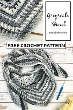 Crochet Greyscale Shawl - Free Pattern Use this free crochet pattern and Lion Brand Ice Cream yarn to make an easy neutral greyscale shawl scarf. This pattern is easy to make larger or smaller, and it would make a beautiful gift or prayer shawl. Prayer Shawl Crochet Pattern, Prayer Shawl Patterns, Crochet Prayer Shawls, Crochet Shawl Free, Crochet Shawls And Wraps, Crochet Scarves, Crochet Yarn, Crochet Vests, Form Crochet