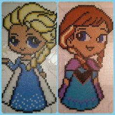Elsa and Anna - Frozen perler beads by perler_by_lotta