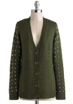 Go for a Spike Cardigan - Mid-length, Green, Solid, Buttons, Studs, Casual, Long Sleeve, Urban