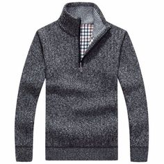 Autumn Winter Mens Knitted Wool Blend Thick Velvet Half-Open Zipper Casual Sweater - Gchoic.com