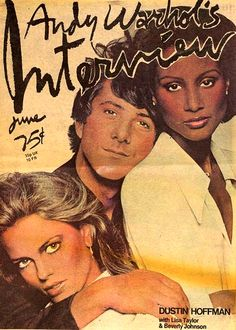 Beverly shares the cover of Interview magazine with model Lisa Taylor and actor Dustin Hoffman, 1976.