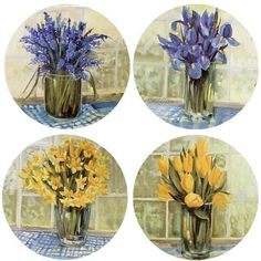 Blue  Yellow Florals Absorbent Coasters -- To view further for this item, visit the image link.