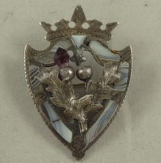 Beautiful Antique Scottish Luckenbooth Brooch Thistle Crown Shield A&LL  # E080 #AdieLovekinLtd