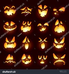 Jack O Lantern faces Jack O Laternengesichter The post Jack O Laternengesichter & Halloween appeared first on Pumpkin carving ideas . Citouille Halloween, Printable Halloween, Adornos Halloween, Manualidades Halloween, Holidays Halloween, Halloween Pumpkins, Halloween Pumpkin Carvings, Pumpkin Face Carving, Halloween Designs
