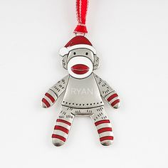 You can't get any cuter than this sock monkey ornament! He will look adorable on everyone's Christmas tree this year. Engrave it and make it a personalized gift they will remember for years to come. Holiday Wishes, Holiday Parties, Engraved Gifts, Personalized Gifts, Christmas Decorations, Christmas Ornaments, Holiday Decor, Christmas 2015, Christmas Stuff