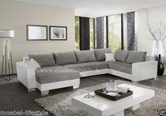 Wohnlandschaft-XL-Format-Ecksofa-im-U-Form-in-weiss-grau-Sofa-Couch