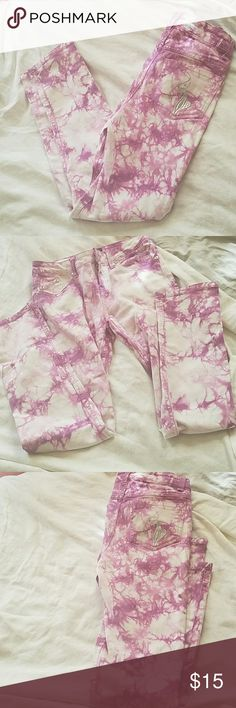 Baby Phat Girls Tye Dye Skinny Jeans Size 12 Super rare skinny jeans with a gorgeous purple tye dye pattern and stretch. Jeans are in excellent condition! Girls size 12 Baby Phat Bottoms Jeans