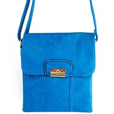 """Click Here and Buy it On Amazon.com $28.99 Amazon.com: New Arrival """"Designer Inspired"""" Unique Bifold Style Solid Messanger Bag / Crossbody Bag in Blue: Clothing"""