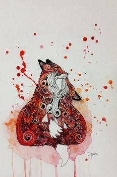 Fox love splatter paint art