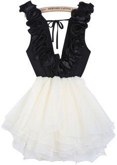 Black Contrast Beige Deep V Neck Ruffle Flare Dress - Sheinside.com
