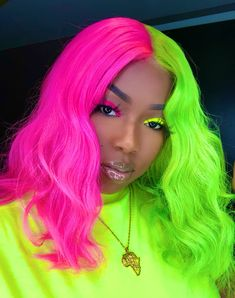 Full Lace Wig Colorful Pink&Green Short Bob Human Hair With Baby Hair Dyed Hairstyles baby bob Colorful Full Hair Human Lace PinkGreen short Wig Green Hair Colors, Hair Dye Colors, Cool Hair Color, Neon Green Hair, Split Dyed Hair, Half Dyed Hair, Dye Hair, Half And Half Hair, Colored Wigs
