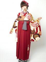 中村里砂袴JN-5 ベージュ白地赤 白黒菊 モダン袴レトロ袴