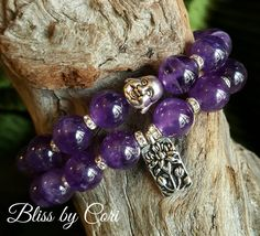 Amethyst Laughing Buddha Beaded Stretch Bracelet Duo  *FREE SHIPPING* by BlissbyCori on Etsy