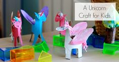 A simple unicorn craft for kids made from toilet paper rolls. Plus a pegasus or three! And a way to weight the feet so they don't tip over.