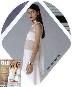 Vu dans OUI Magazine, notre robe de mariée longue Creponne. Suzanne-Ermann.com