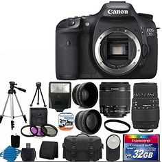 Canon EOS 7D 18MP CMOS Digital SLR Camera with 3-Inch LCD With Canon EF-S 18-55mm f/3.5-5.6 IS Camera Lens +Sigma Zoom Telephoto 70-300mm f/4-5.6 DG Macro Autofocus Lens + 58mm 2x Professional Lens +High Definition 58mm Wide Angle Lens + Auto Power Flash + UV Filter Kit with 32GB Compact Flash Card 400X Complete Deluxe Accessory Bundle