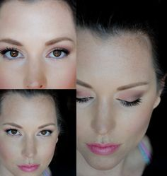 Apply tannish-pink all over lid; deeper pink to inside corner; soft brown to outer V & blend; highlight browbone; thin black liner to top lashline; mascara on top & bottom lashes.