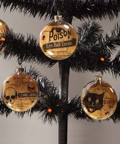 Halloween Glass Disc Ornaments | Bethany Lowe Halloween - The Holiday Barn