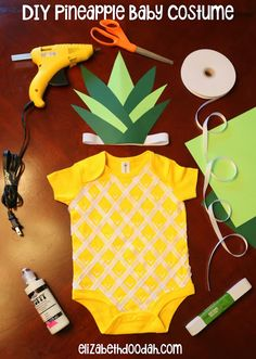 DIY Sweet Pineapple Baby Halloween Costume - Onesie - Pineapple Party - First Birthday - How to - Newborn Infant Pineapple - No Sew