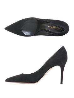"GIANVITO ROSSI Suede point-toe pumps in dark charcoal-grey heel 3.8"" 582.00"