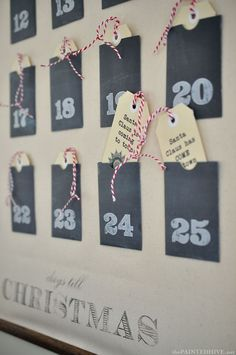 Christmas Advent Calendar Wall Chart (with free printable pockets & tags!) | The Painted Hive: