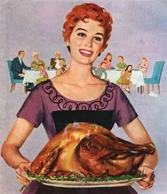 It's all in the presentation! ~ Vintage Thanksgiving illustration, ca. 1950s.