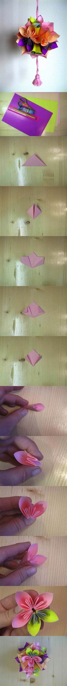 Best Origami Tutorials - Origami Flower Ball - Easy DIY Origami Tutorial Projects for With Instructions for Flowers, Dog, Gift Box, Star, Owl, Buttlerfly, Heart and Bookmark, Animals - Fun Paper Crafts for Teens, Kids and Adults http://diyprojectsforteens.com/best-origami-tutorials