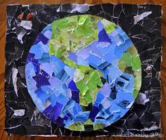 Easy Earth Day Collage ~ this is a kid craft but I just might have to make a version for myself! LOVE this!
