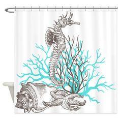 Ocean Gems Seahorse In Teal Shower Curtain on CafePress.com