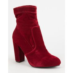 Yoki Velvet Womens Booties ($35) ❤ liked on Polyvore featuring shoes, boots, ankle booties, pull on boots, slouch boots, high heel booties, faux-fur boots and velvet boots