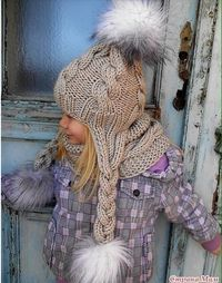 Beautiful Crochet Pattern of little girl's winter hat. This is the cutest knitted piece i've seen in forever! Baby Knitting Patterns, Baby Hats Knitting, Knitting For Kids, Knitted Hats, Crochet Patterns, Crochet Girls, Knit Crochet, Crochet Hats, Cardigan Bebe