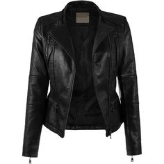 KOOLDO Womens Faux Leather Zip Up Classic Moto Jacket ($33) ❤ liked on Polyvore featuring outerwear, jackets, biker jackets, fake leather moto jacket, imitation leather jacket, fake leather jacket and vegan motorcycle jacket
