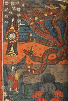 British Library, Add MS 11695, detalle de f. 147v. Beato de Liébana, Comentario al Apocalipsis. 1091-1109