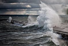 Breakwall taking a Lake Superior beating... Marquette MI