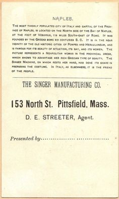 Singer Sewing Machine's World, 1892, Italy napels Trade Card