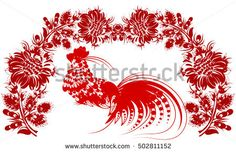 romantic painting Rooster Chinese calendar year of rooster flower red silhouette vector eps10 folk art decorative painting ukrainian Ukraine style
