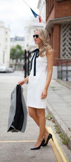 white sheath dress, black silk necktie, + houndstooth jacket | @brooksbrothers
