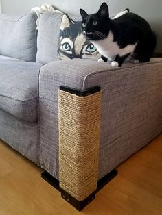 Geometric Cat Scratching Post & Couch Protector! 18-24 Inches tall Width of each side: one side covers 3 1/4 and the other covers 3 3/4 8 inch by 8 inch base Real Sisal Rope Hand stained + protective coat Several stain colors listed, but if you need a specific stain or paint color