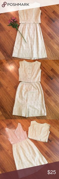 Two Piece Vintage Tapestry Dress Two piece creamy goldy colored vintage tapestry dress! Top and dress adorable worn together or separately! Minimal wear and tear from age. No tag but should fit a small, maybe a medium. If you like the item but not the price, make me an offer!  Vintage  Dresses